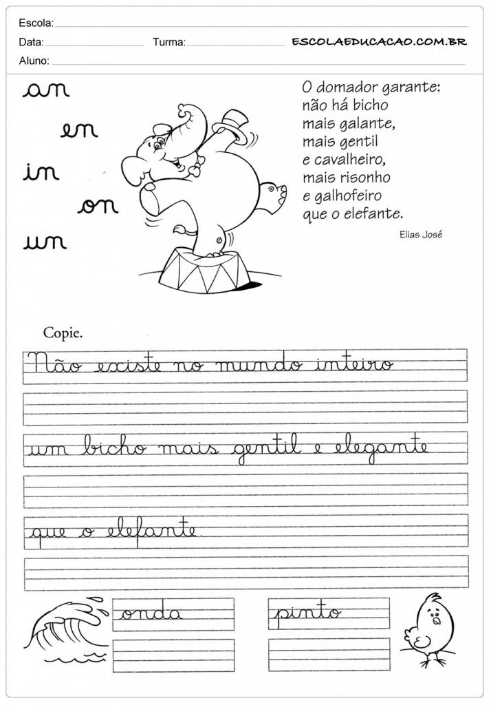 70 Atividades De Caligrafia Para Imprimir Educacao