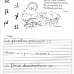 Atividade de caligrafia bl cl fl gl pl tl