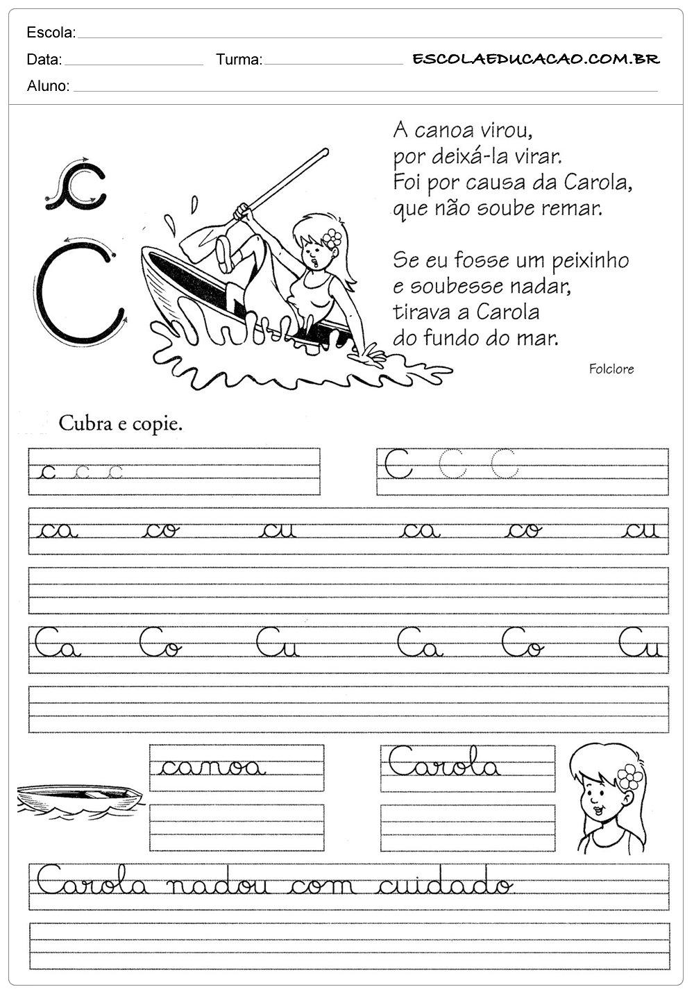Atividade de caligrafia letra C