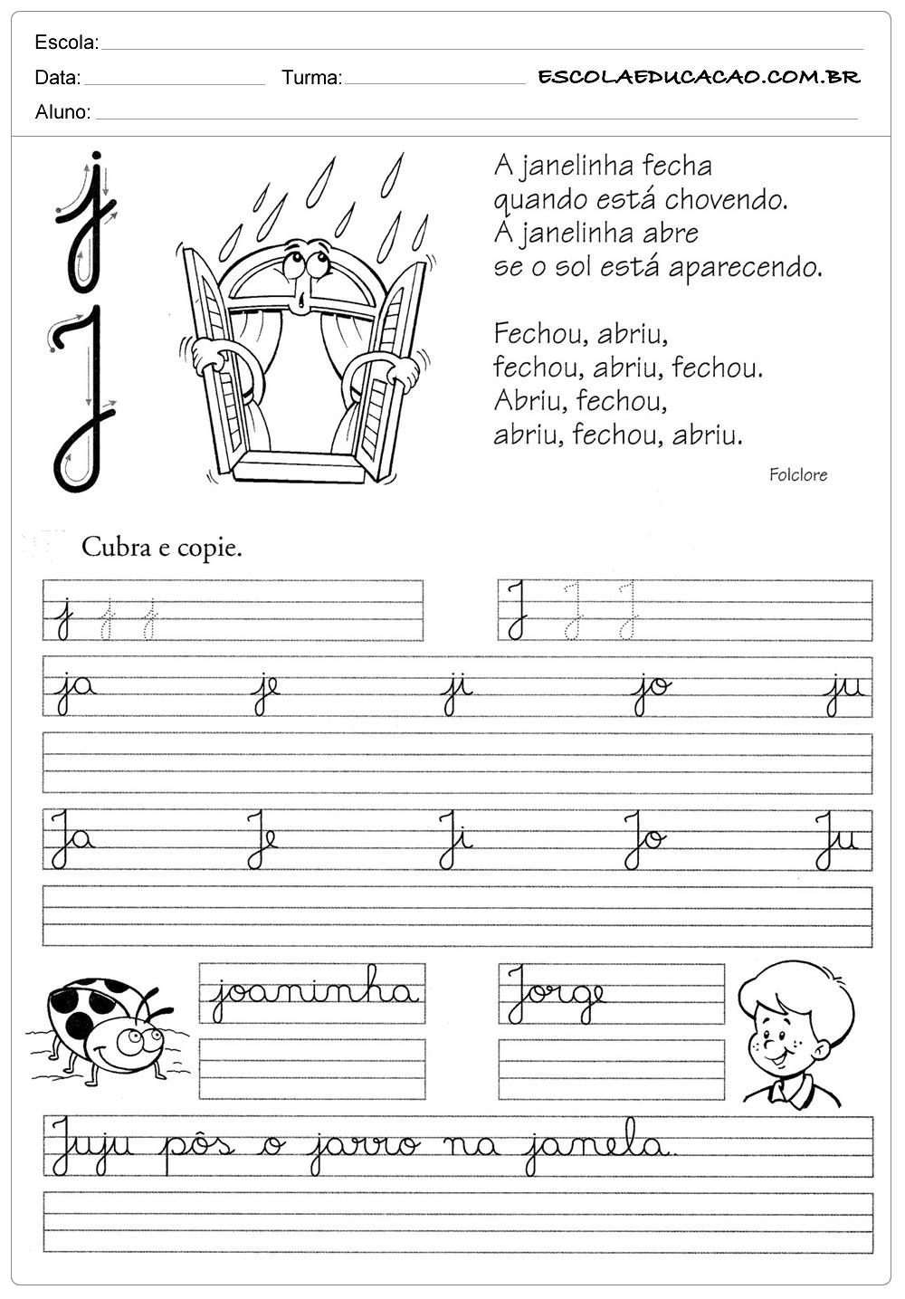 Muitas vezes Atividade de caligrafia letra J - Escola Educação VW93