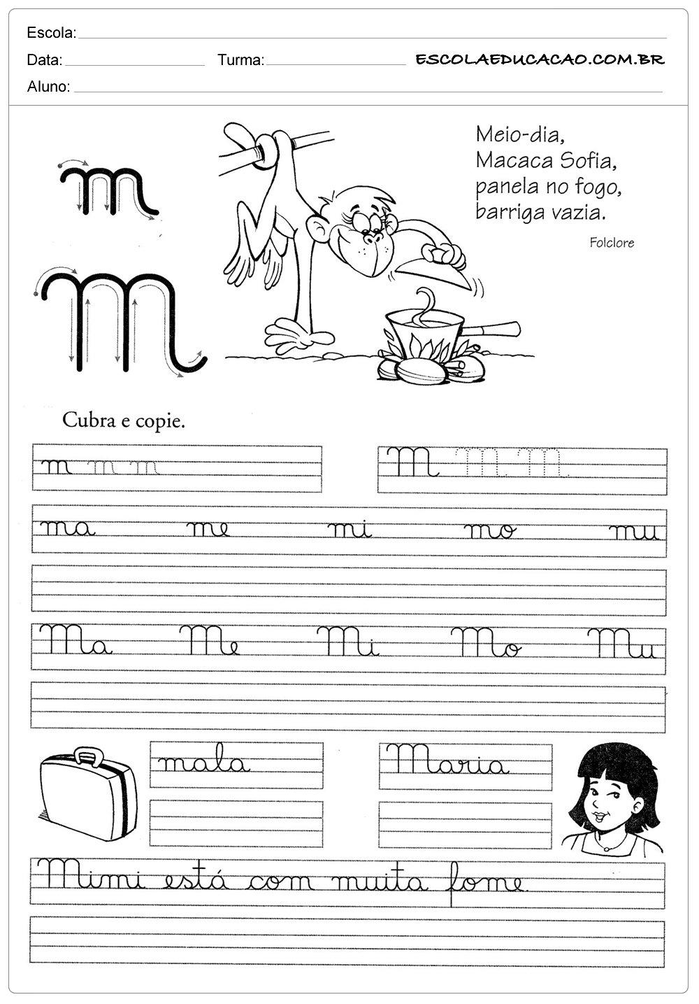 Preferência Atividade de caligrafia letra M - Escola Educação JF35