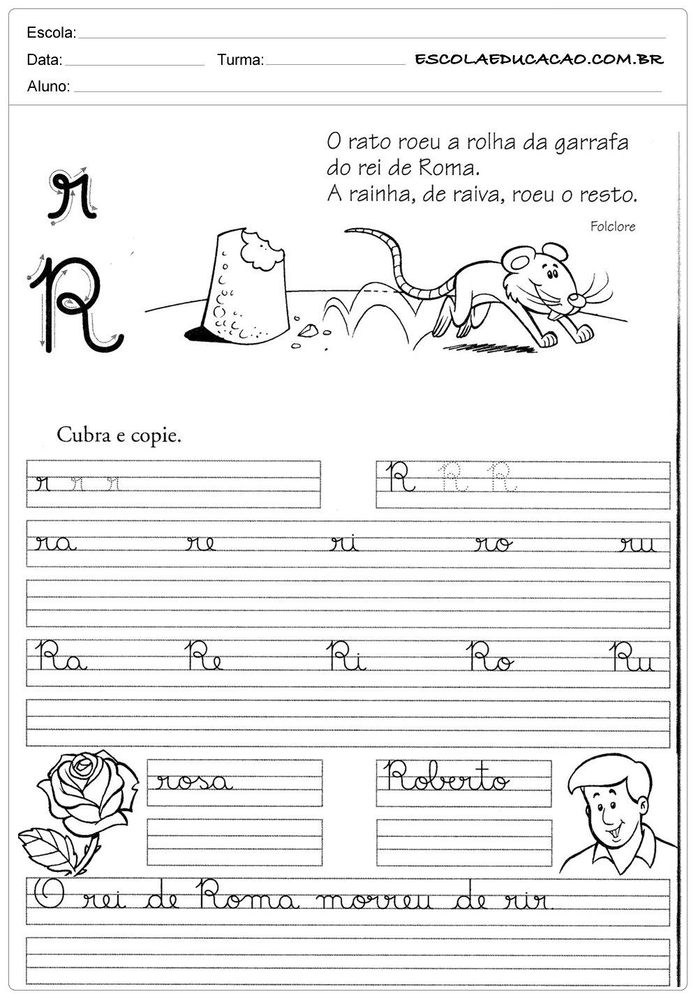 Atividade de caligrafia letra R