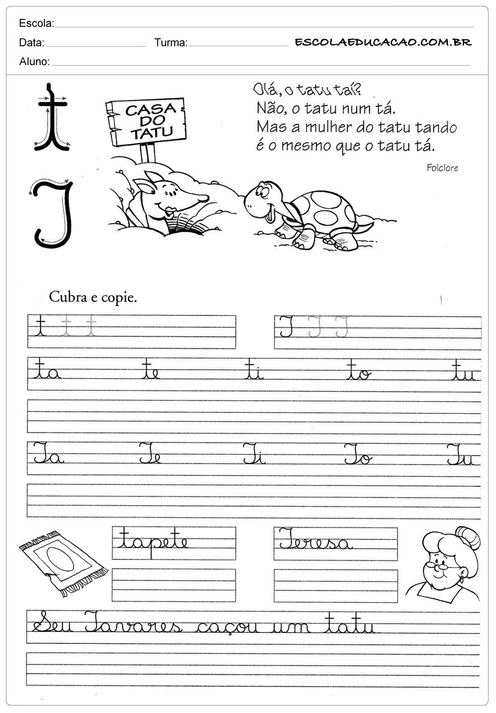 Atividade de caligrafia letra T