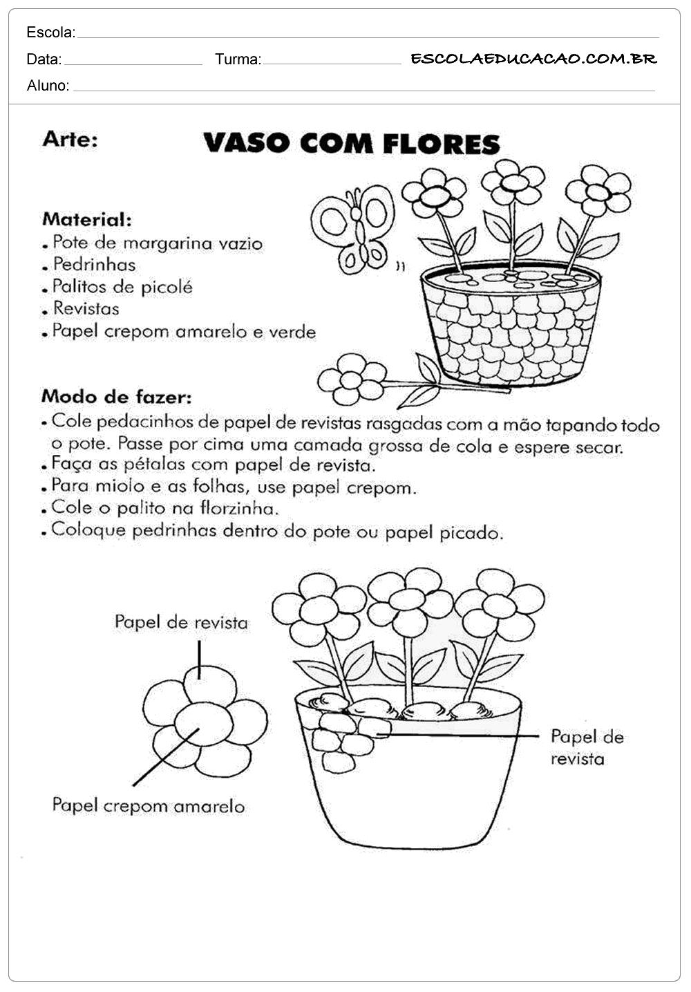 Well-known Atividades de Ensino Religioso Arte Vaso com Flores - Escola Educação UQ33