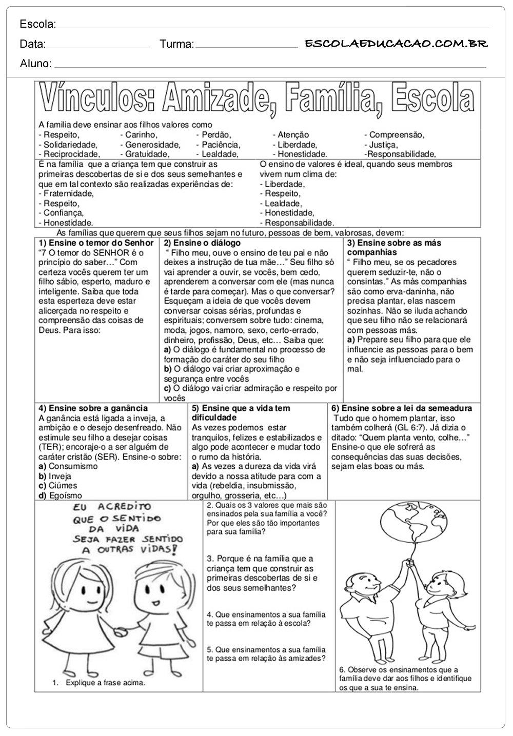 Atividades De Ensino Vínculos Amizade Família E Escola Escola