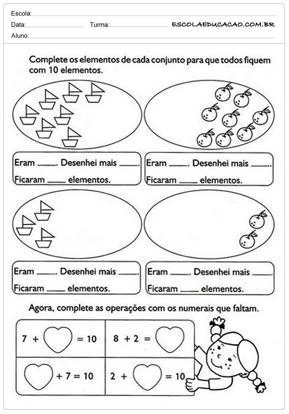 Atividades De Matematica 1º Ano Para Imprimir Escola Educacao