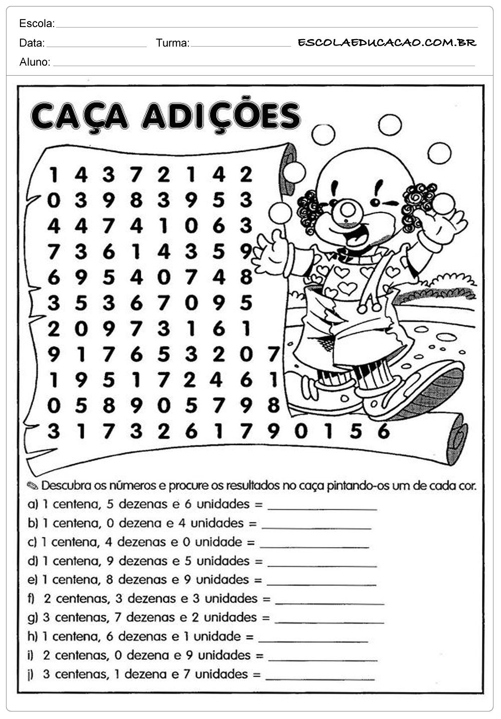 Atividades de Matemática 3º ano Caça Palavras - Escola ...