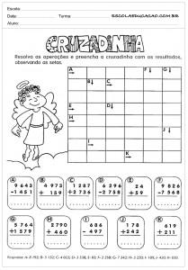 Atividades de Matemática para o 4º ano - Cruzadinha