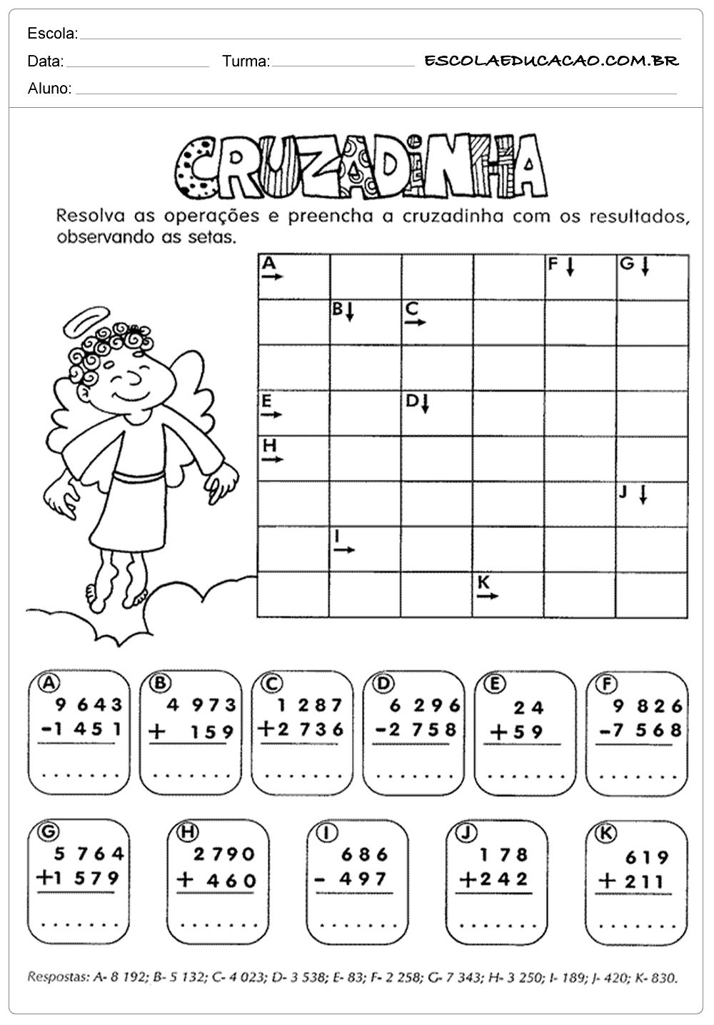 Atividades de Matemática para o 4º ano – Cruzadinha