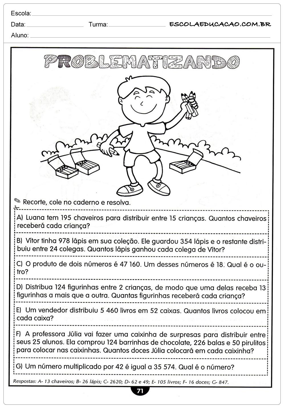 Atividades de Matemática para o 4º ano para imprirmir