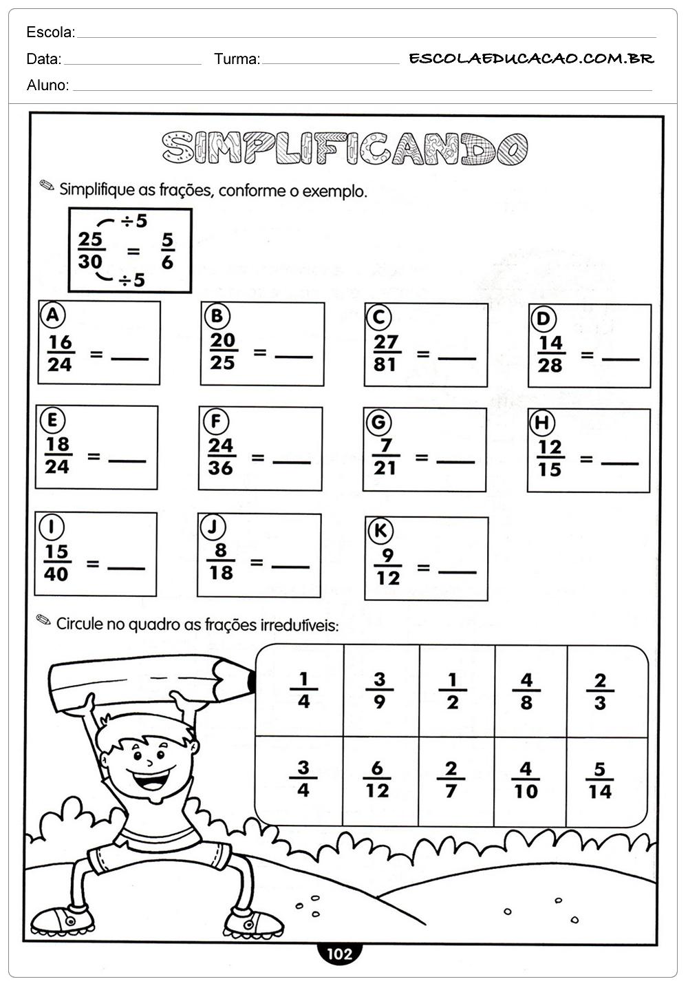 Atividades de Matemática para o 4º ano – Simplificando