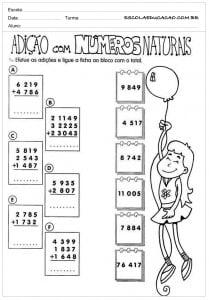 Atividades de Matemática 5º ano - Adição com números naturais