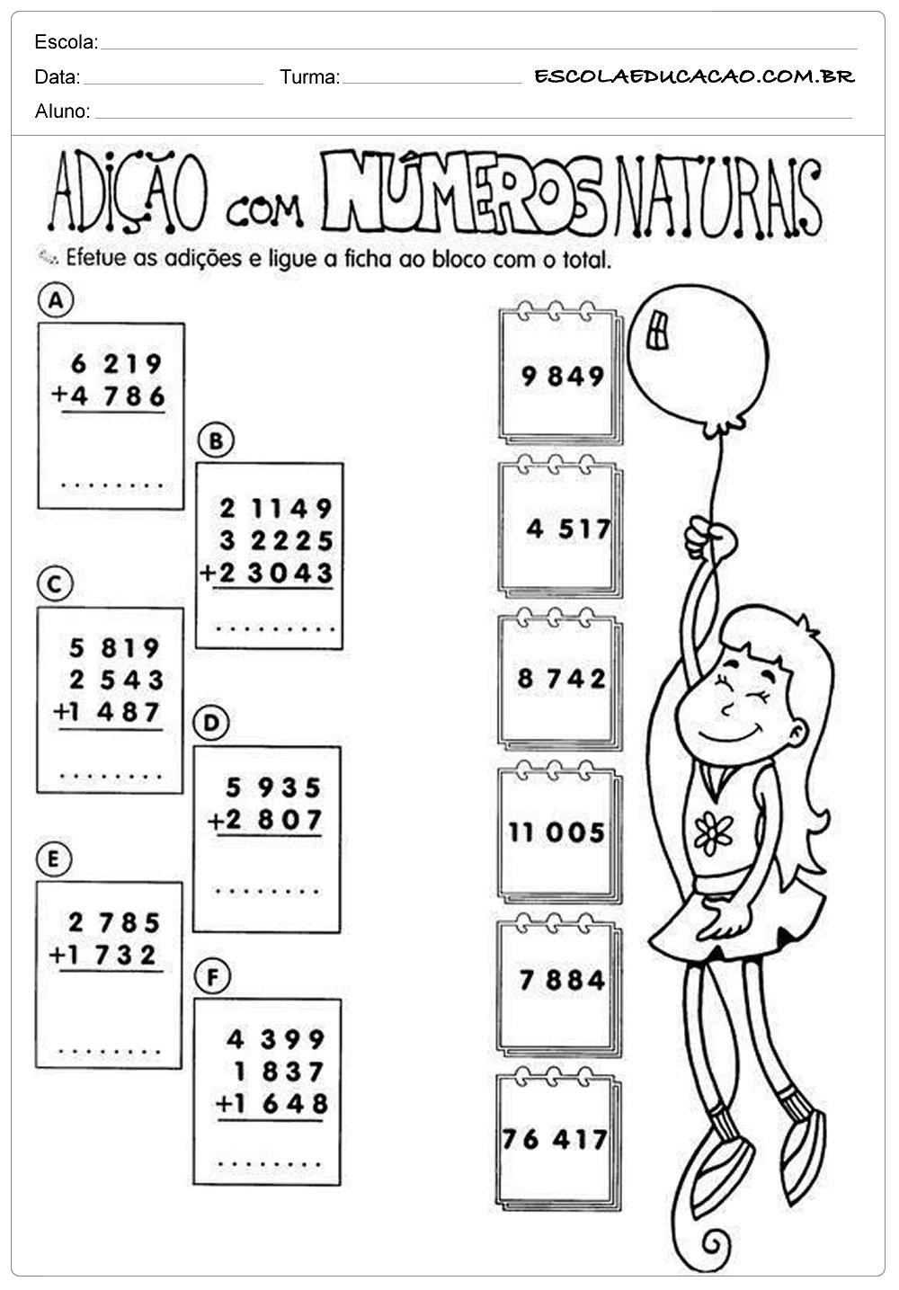 Atividades de Matemática 5º ano – Adição com números naturais