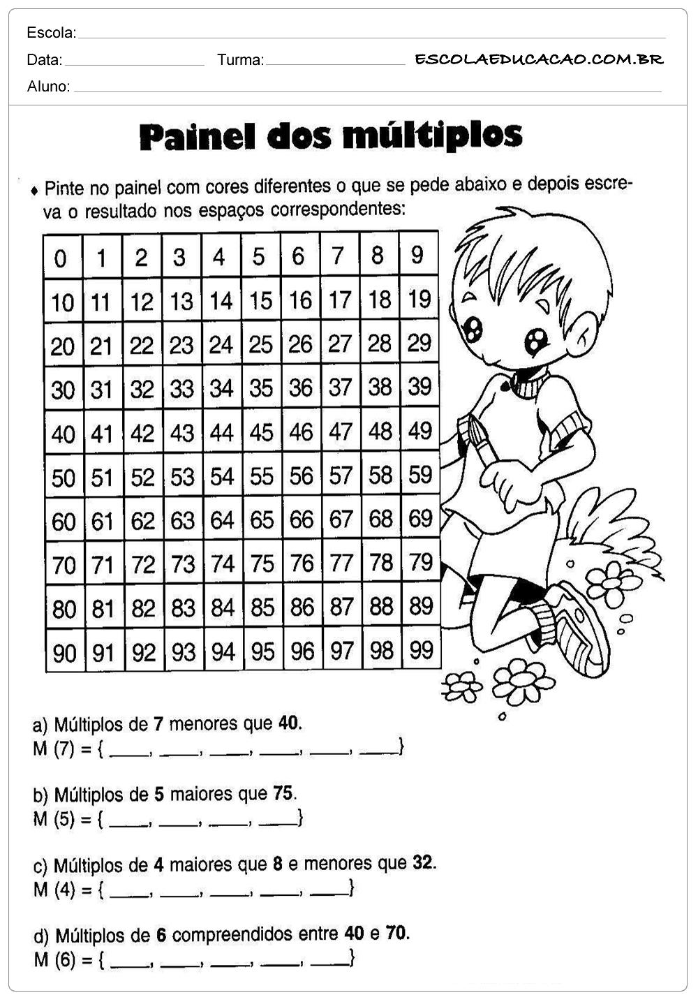 Atividades de Matemática 5º ano – Painel dos Múltiplos