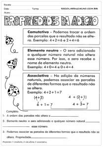 Atividades de Matemática 5º ano - Propriedades da Adição