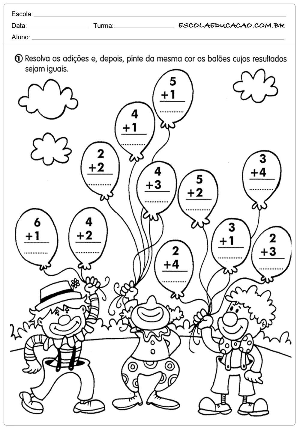 Atividades de matematica Somar
