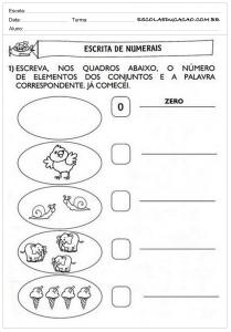 Atividades de Português 1 ano - Escrita de Numerais