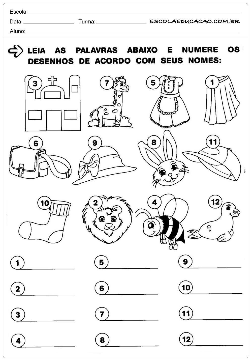Atividades de Português 1 ano – Identifique as Figuras