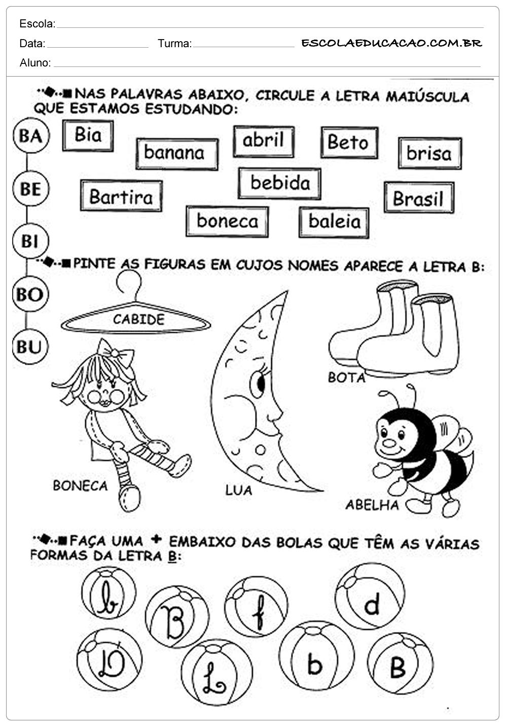 Atividades de Português 1 ano – Para IImprimrir