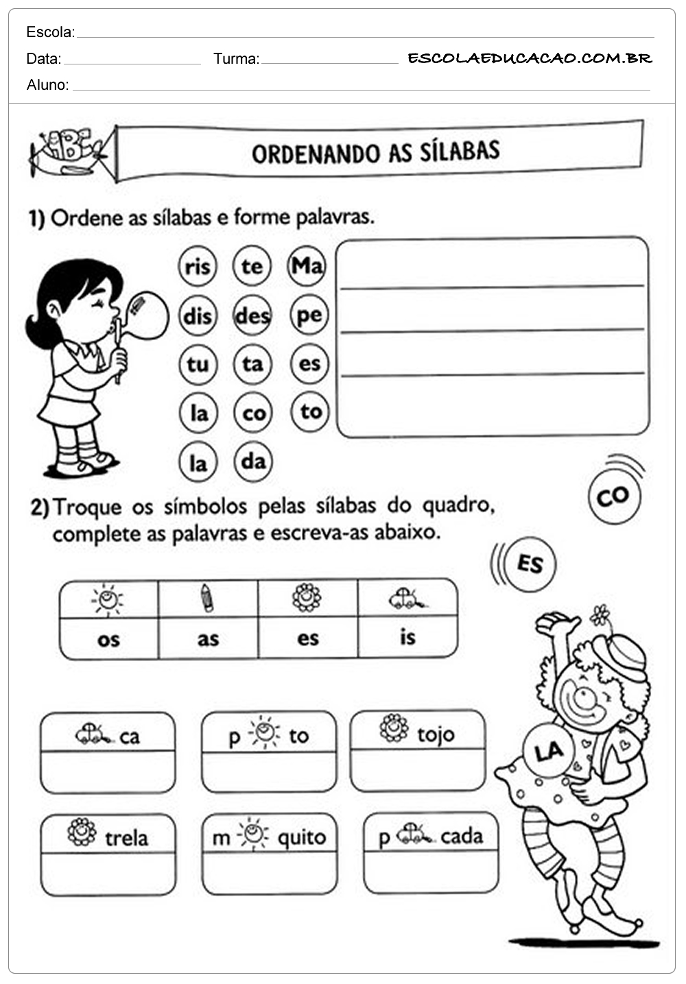 Atividades de Português 2 ano – Ordenando Sílabas