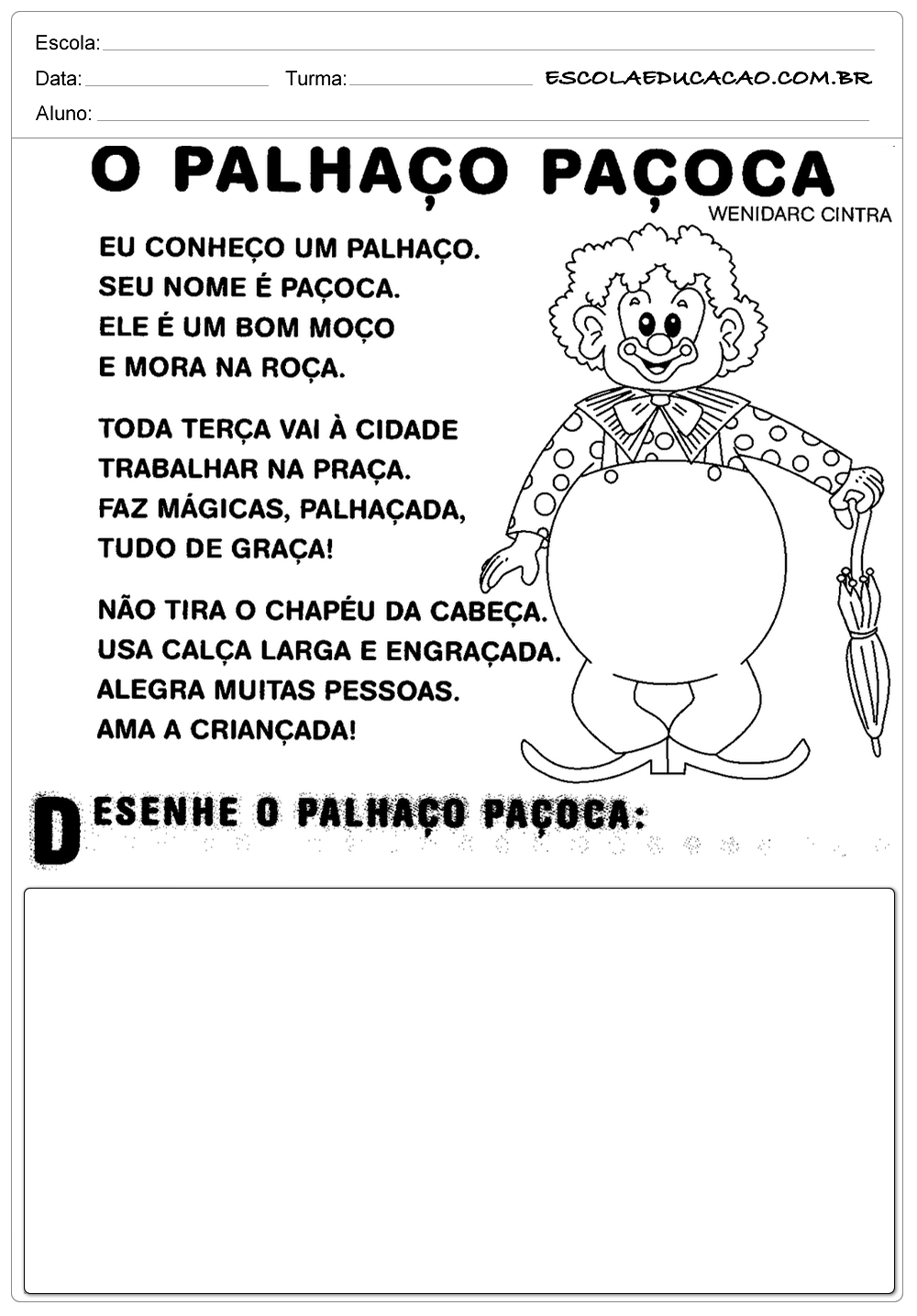 Atividades de Português 2 ano – Palhaço Paçoca