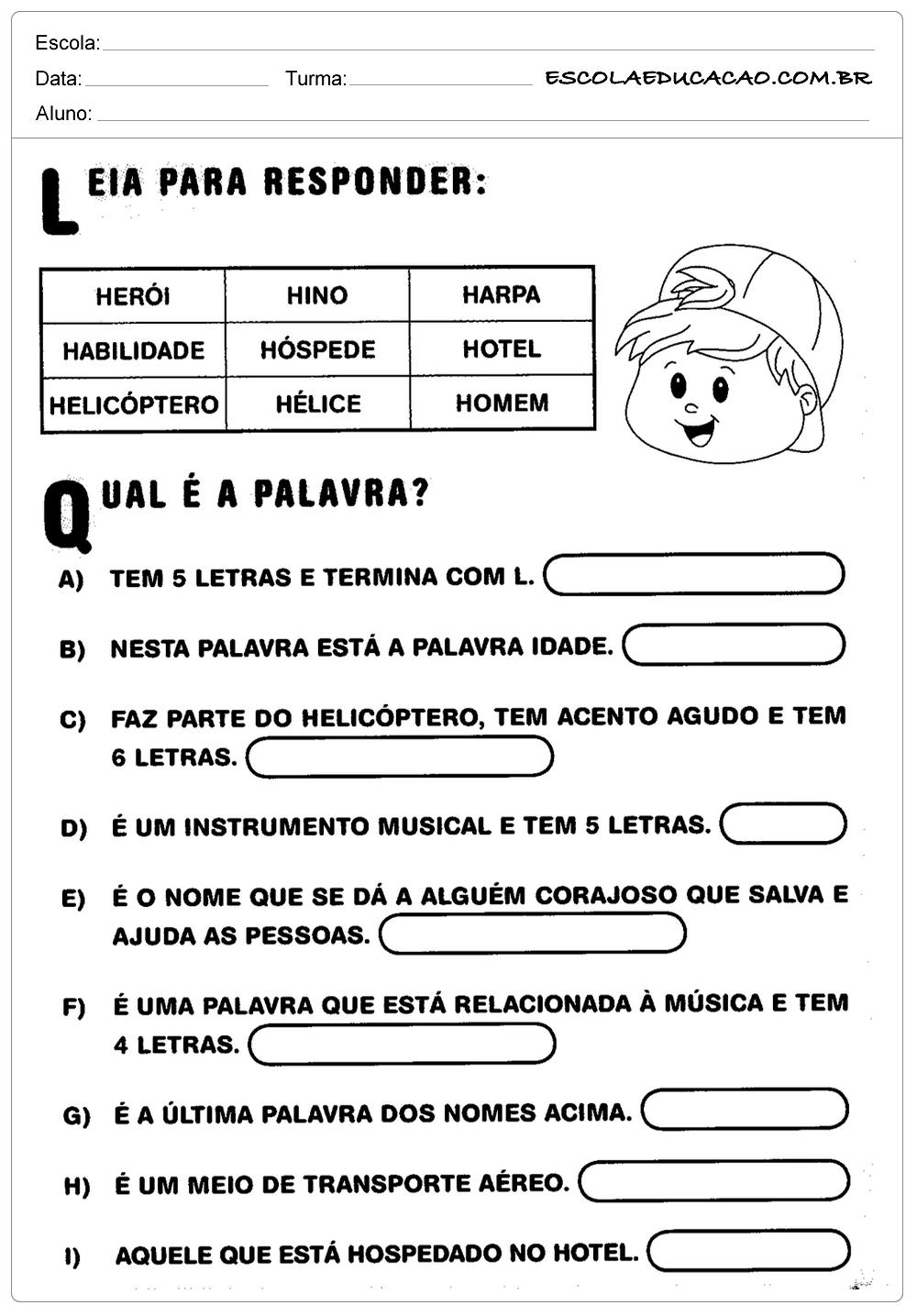 Atividades de Português 2 ano
