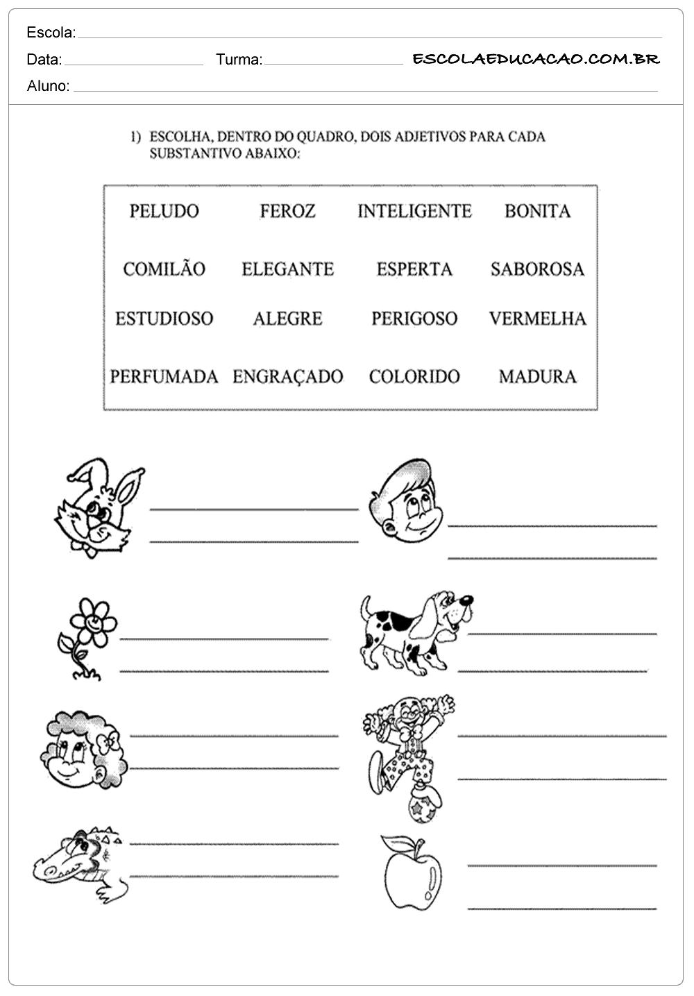 Atividades de Português 2 ano – Adjetivos