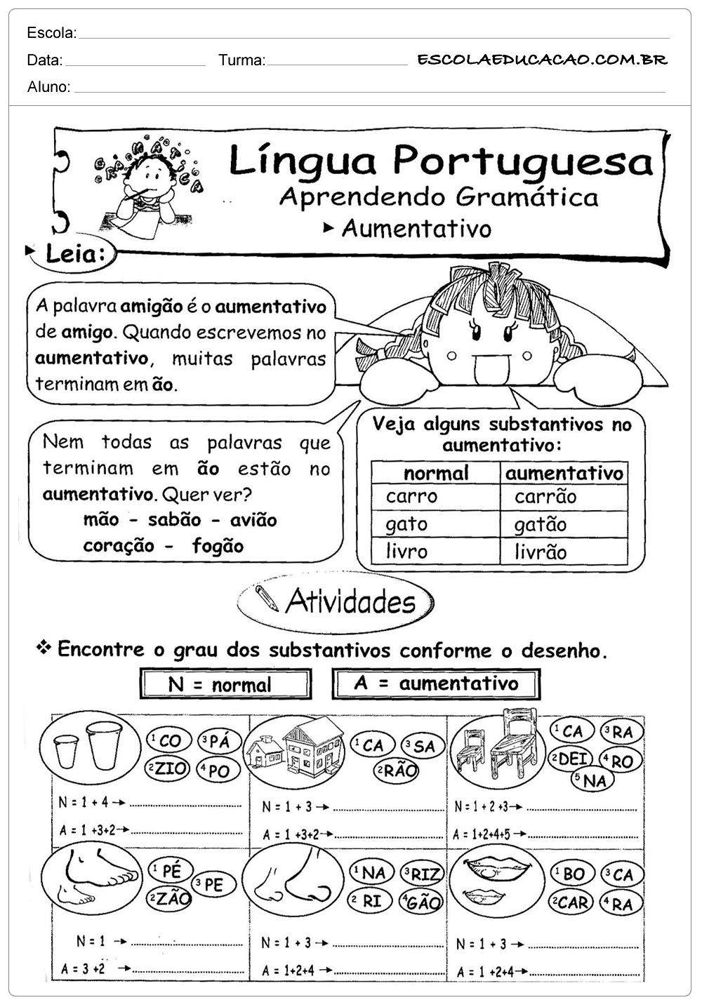 Atividades de Português 2 ano – Aumentativo