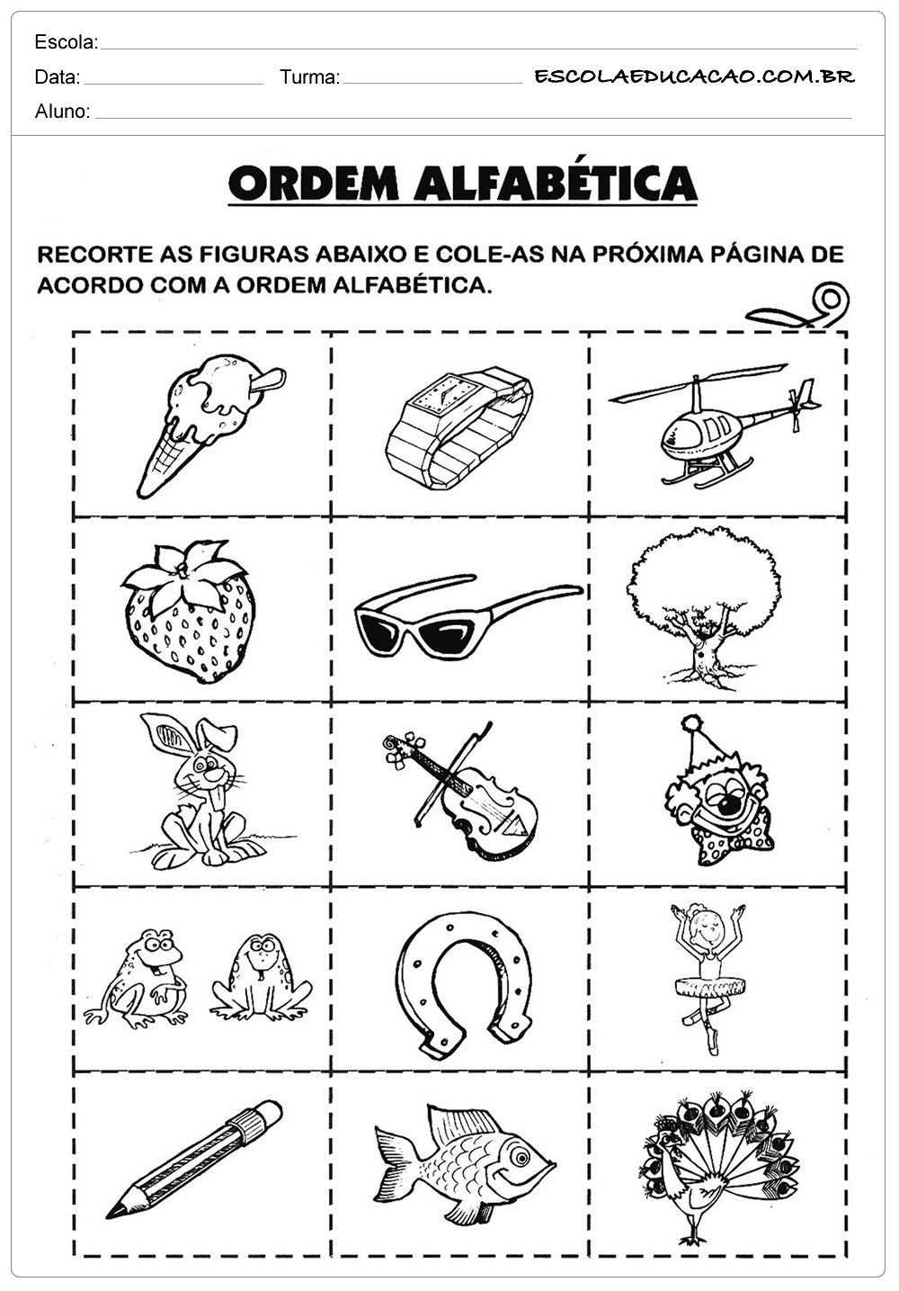 Atividades de Português 2 ano – Ordem Alfabética