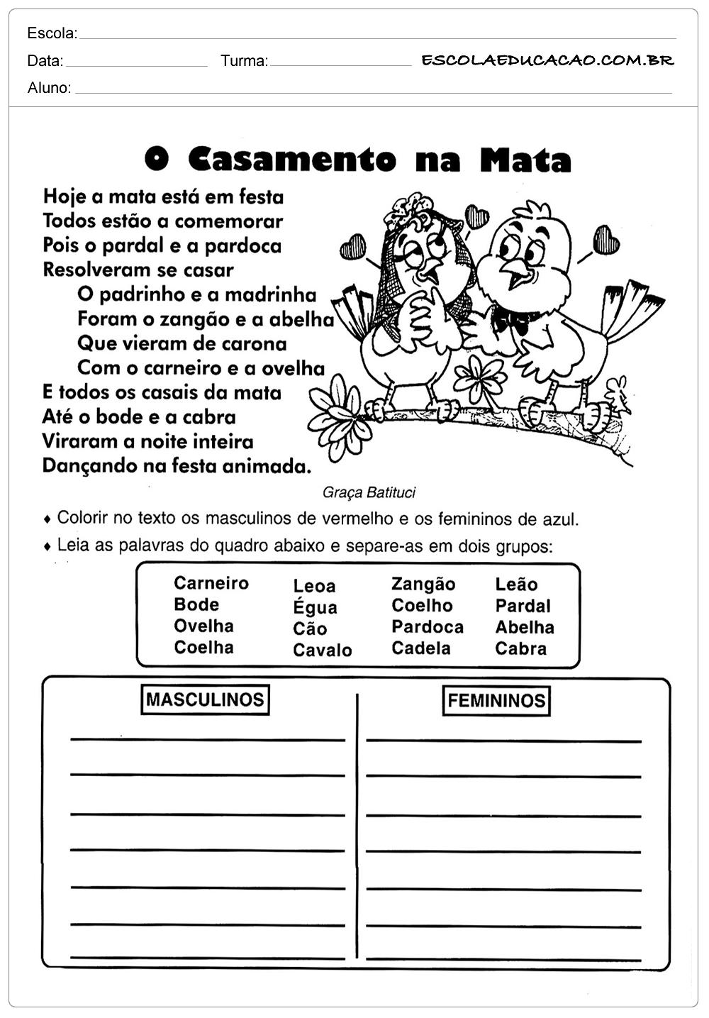 Atividades de Português 2º ano – O casamento na Mata