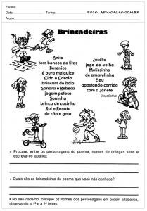 Atividades de Português 4 ano - Brincadeiras