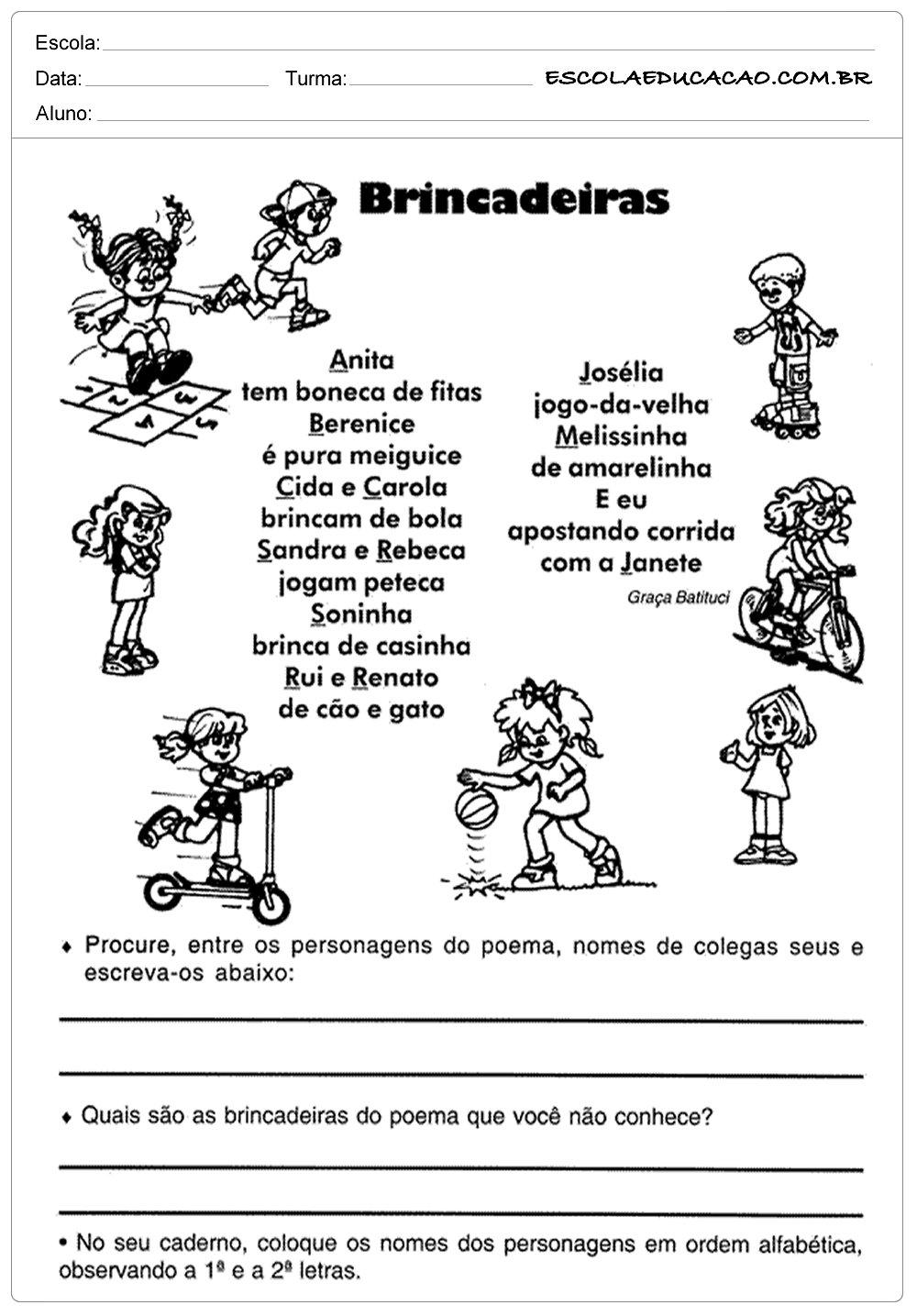 Atividades de Português 4 ano – Brincadeiras