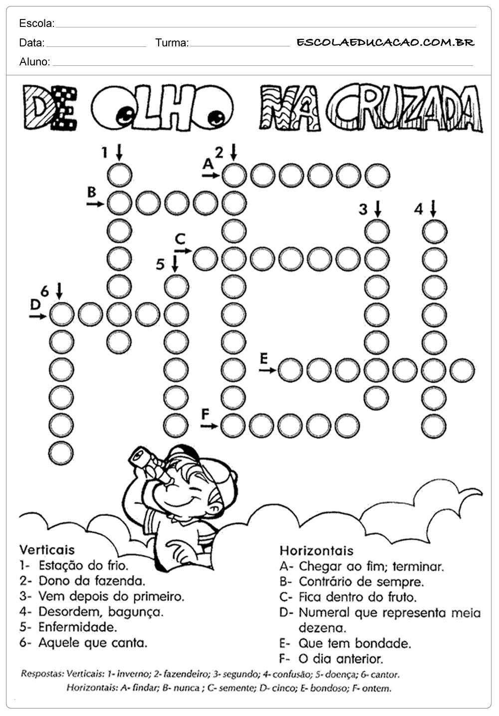 Atividades de Português 4 ano para imprimir