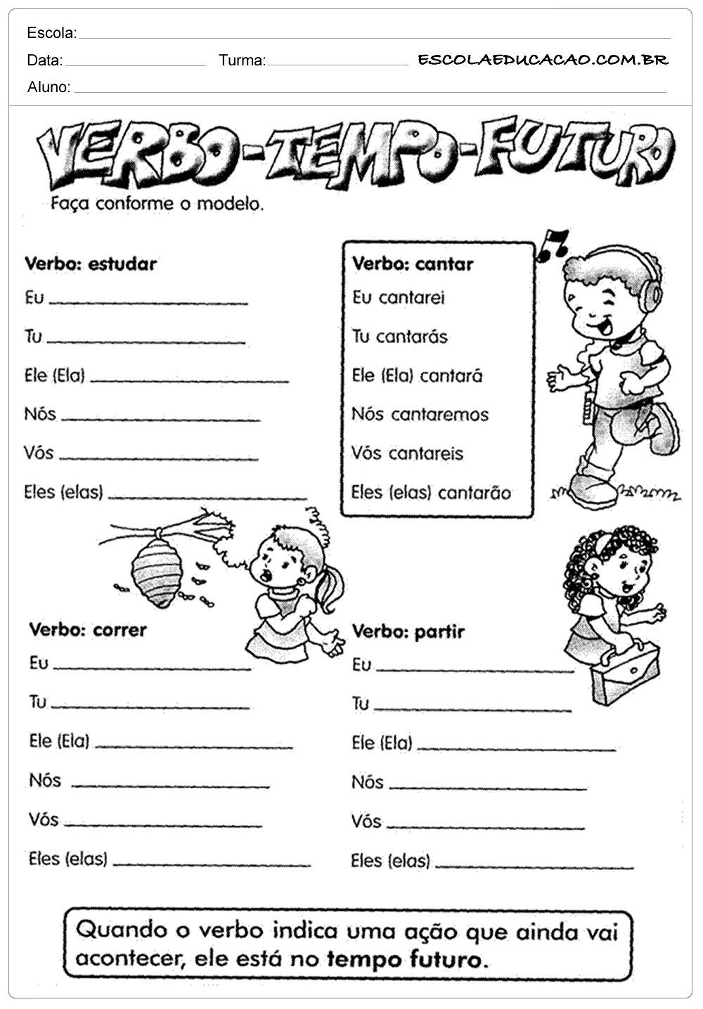Atividades de Português 4 ano – Verbo