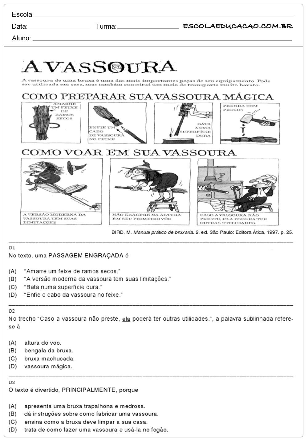 Atividades de Português 5 ano para imprimir