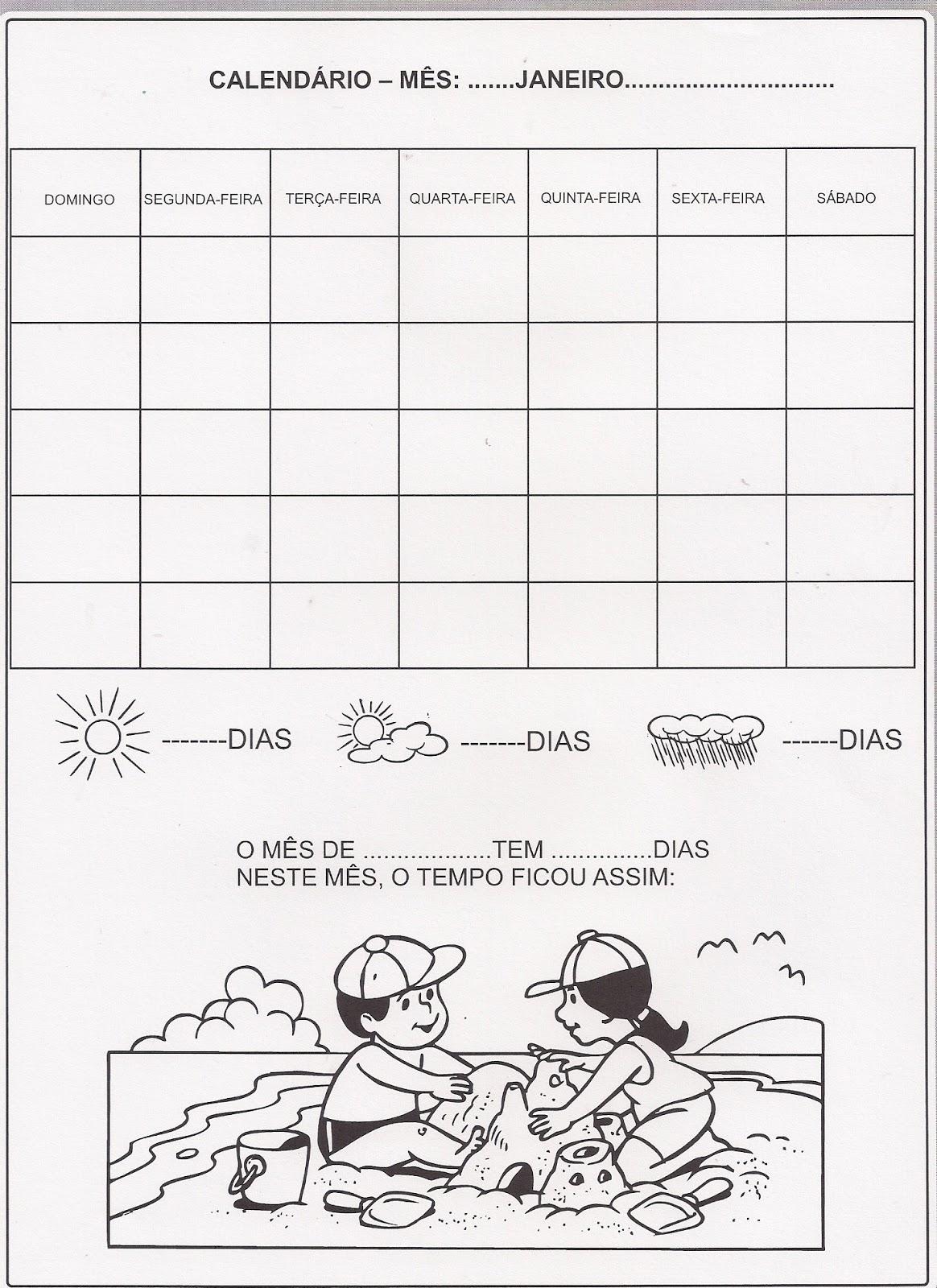 Calendário mês de Janeiro