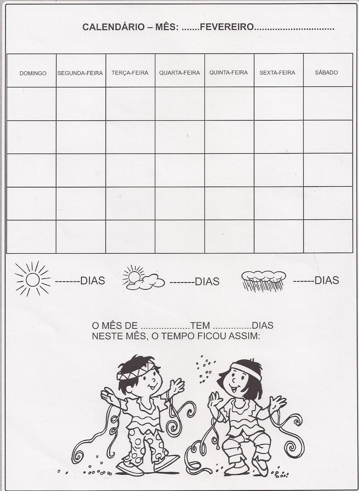 Calendário mês de Fevereiro