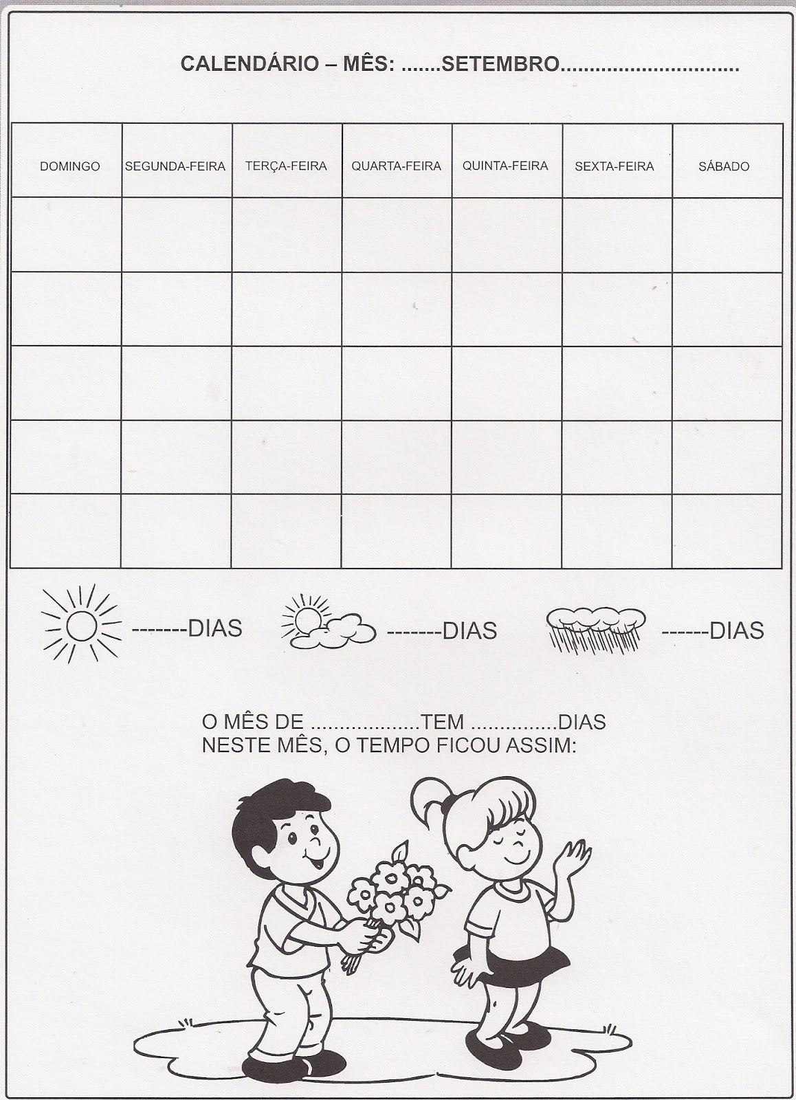 Atividade – Calendário mês de Setembro
