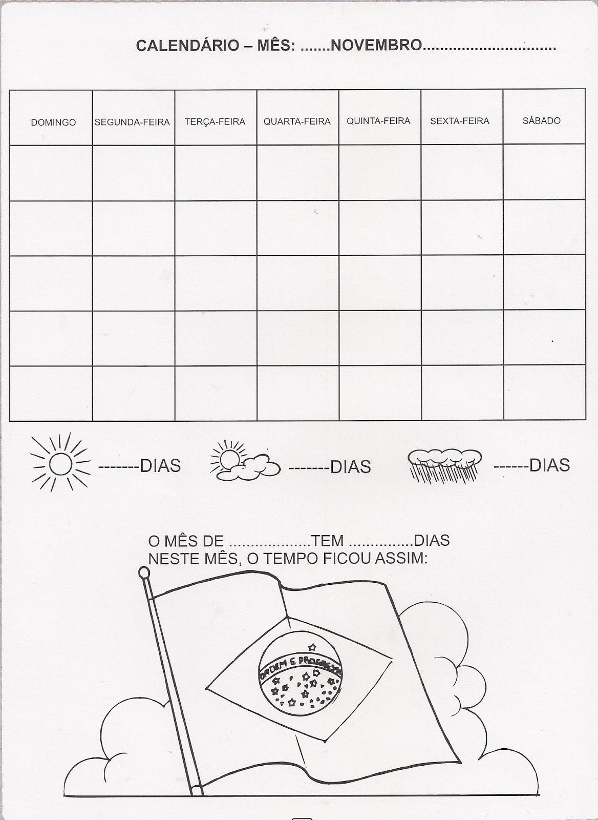 Atividade – Calendário mês de Novembro