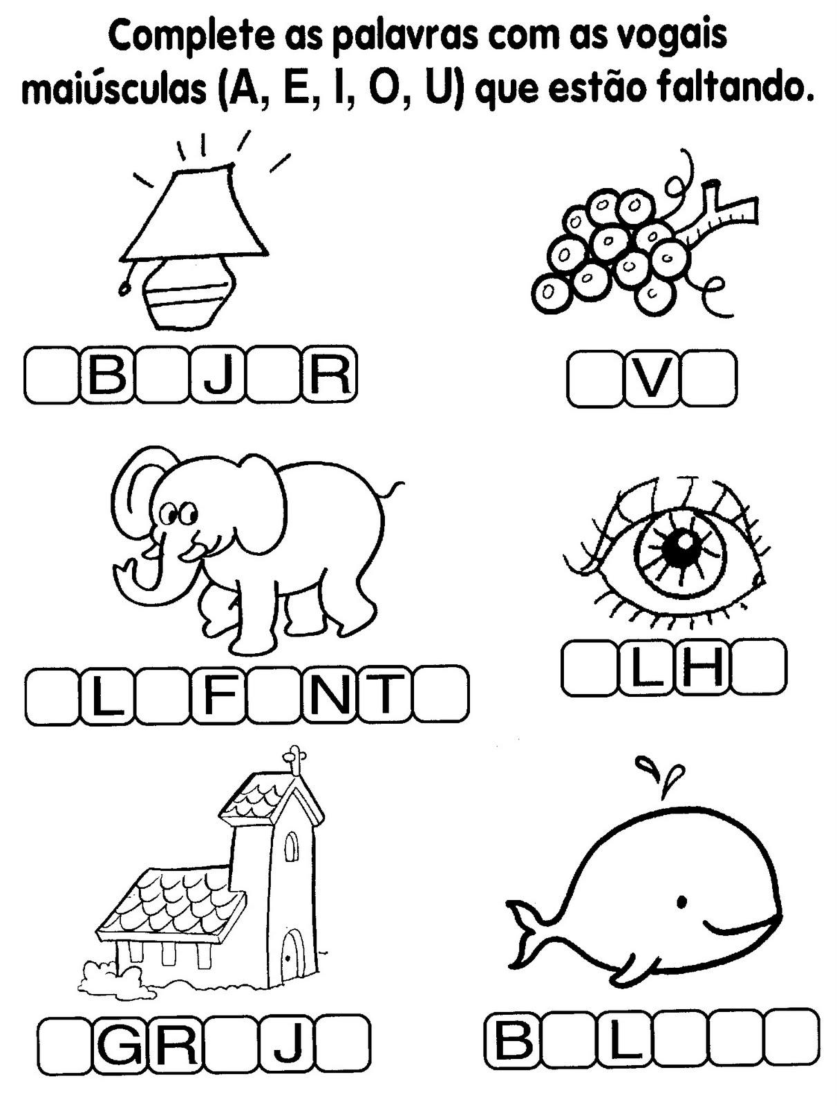 Complete as palavras com as vogais
