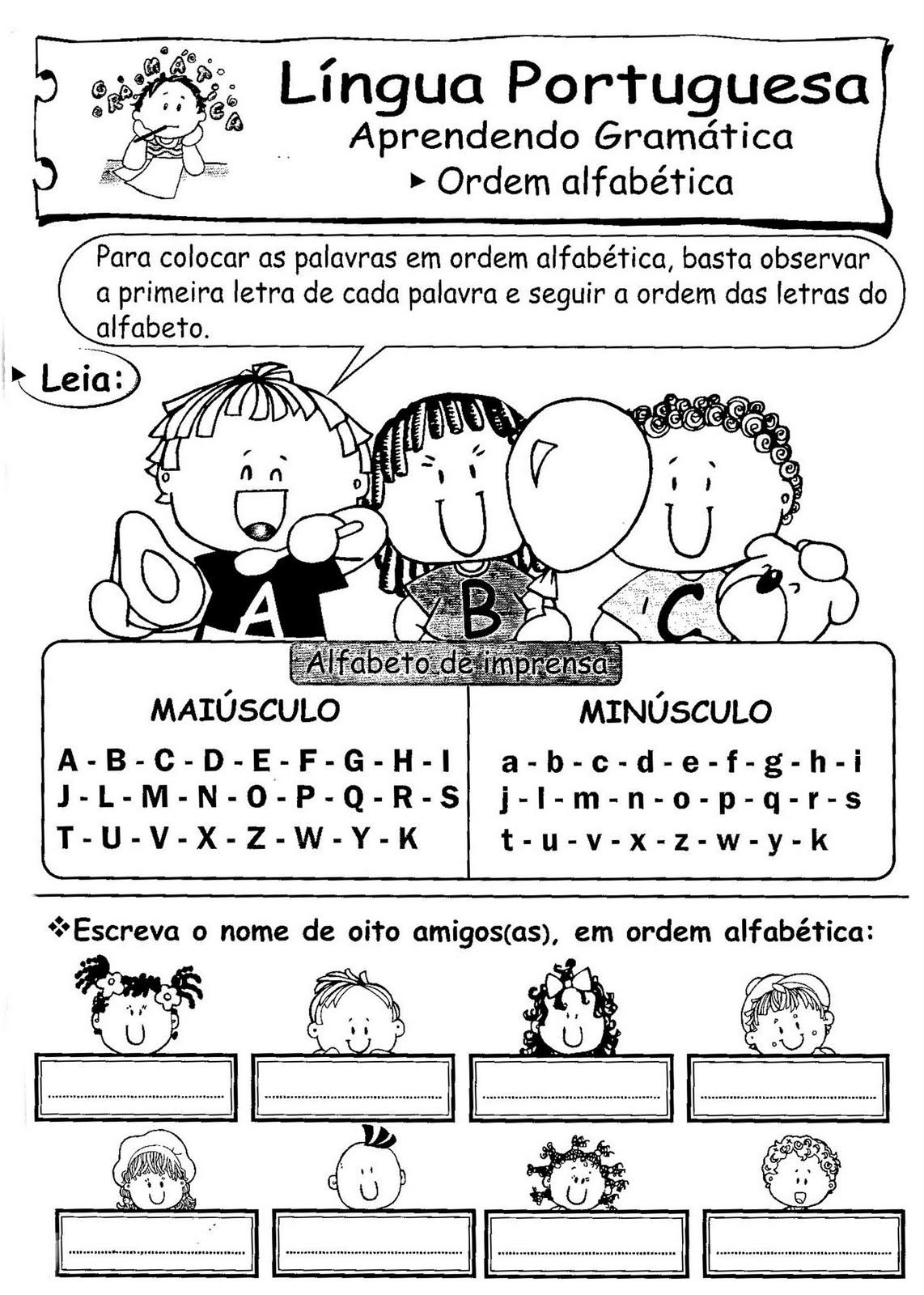 Aprendendo a Gramática –  Ordem alfabética