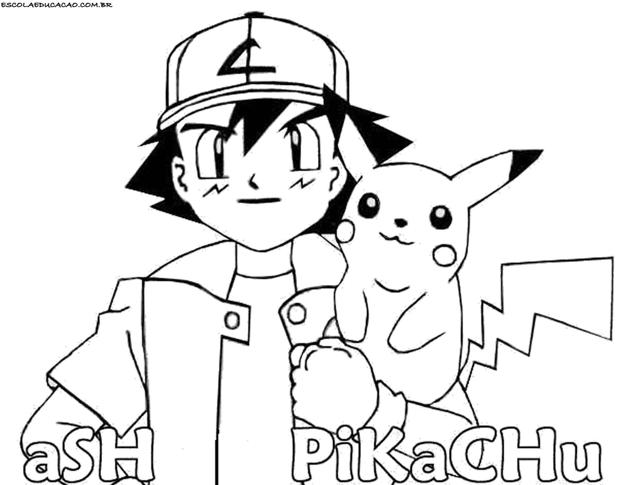 Desenhos Para Colorir Do Pokemon Ash E Pikachu Escola Educacao