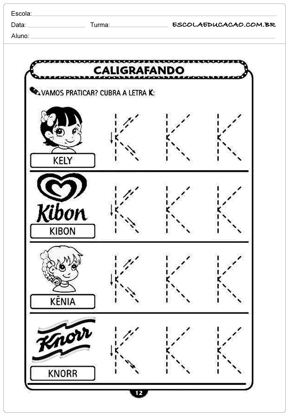 Imprimir atividade de caligrafia letra K