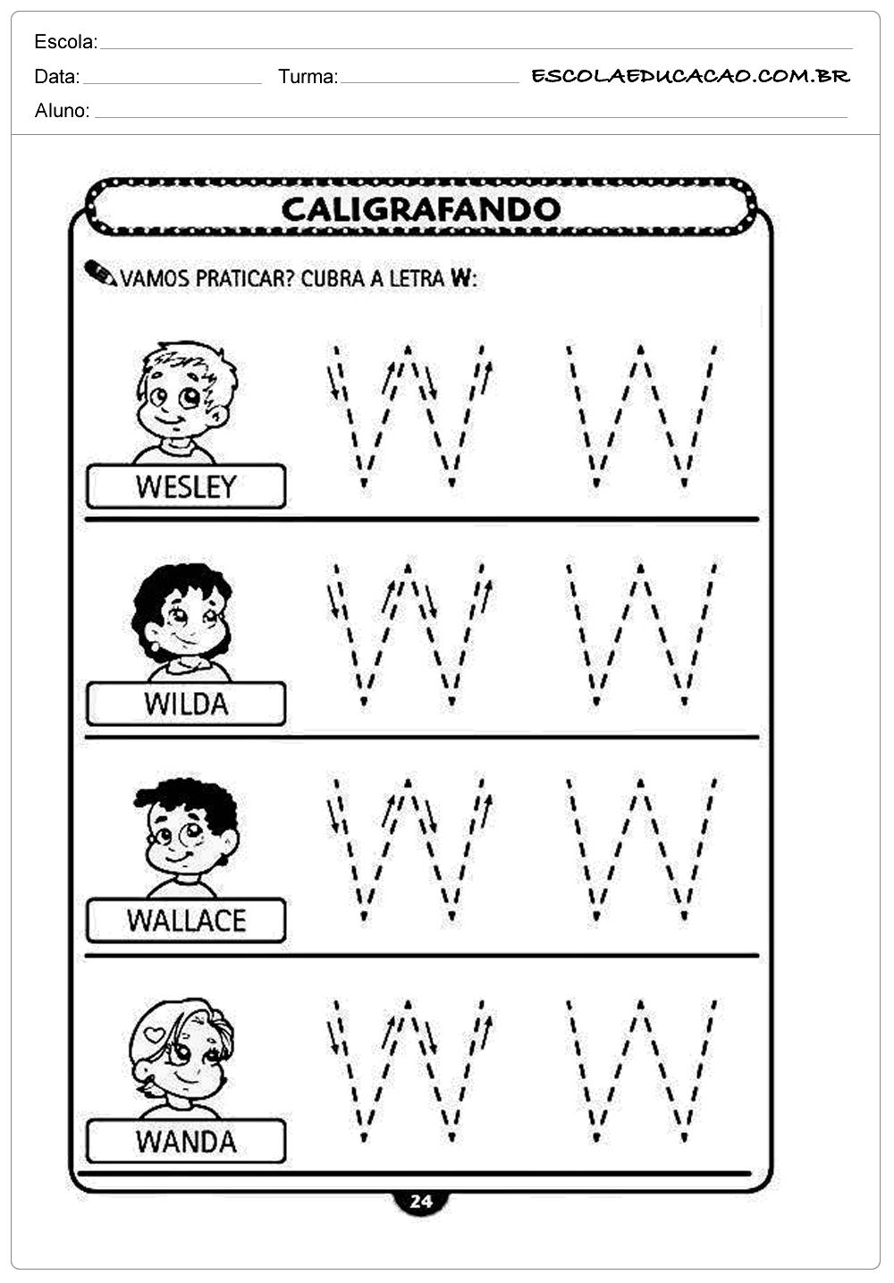 Iimprimir atividade de caligrafia letra W