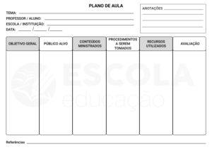 Modelo de Plano de aula pronto grátis para baixar