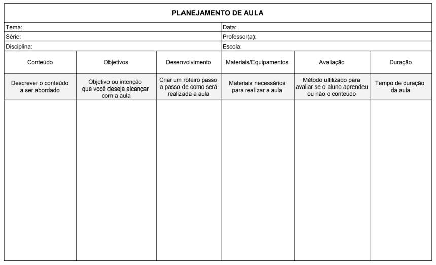 Modelo de Planejamento de Aula - Desenvolvido por Escola Educação