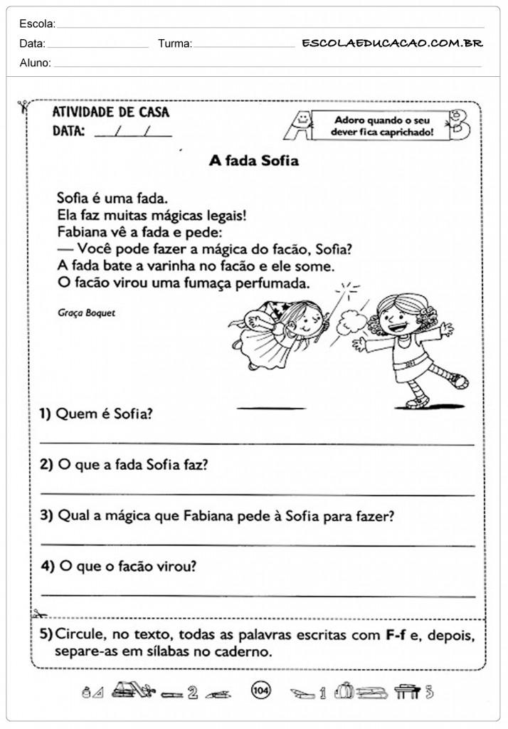 Atividades de Interpretação de Texto 2º ano - Atividade para Casa