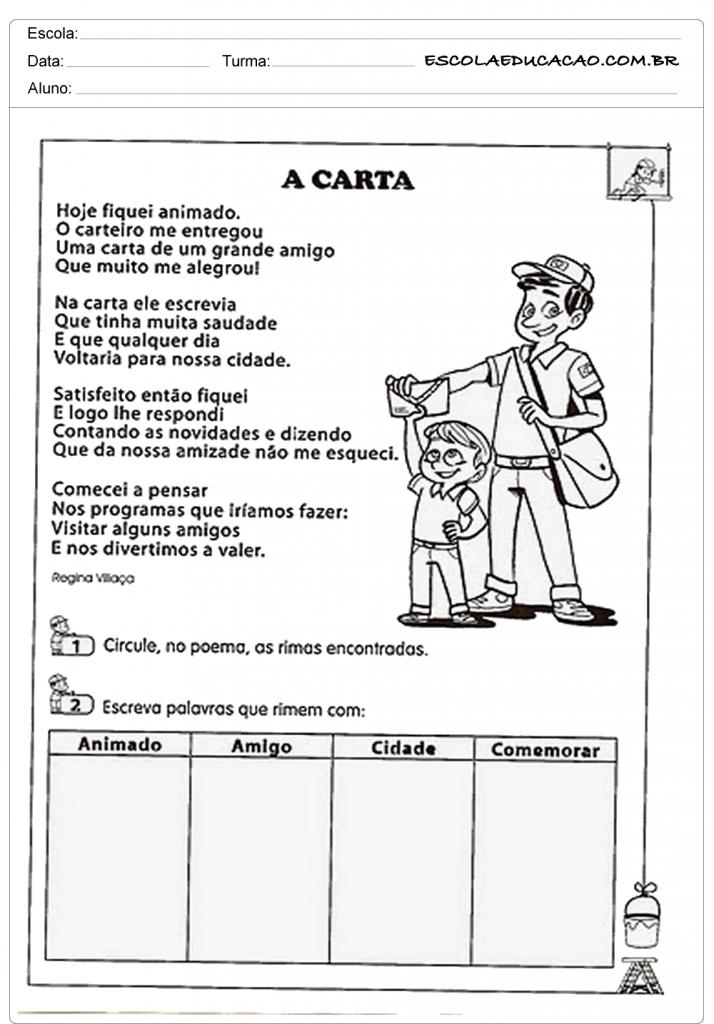 Atividades de Interpretação de Texto 3º ano - A Carta
