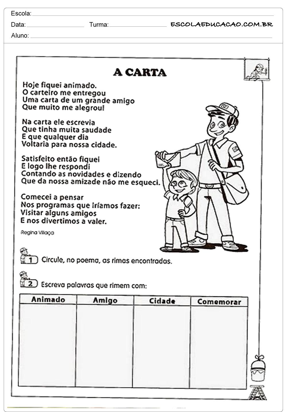 Atividades de Interpretação de Texto 3º ano – A Carta