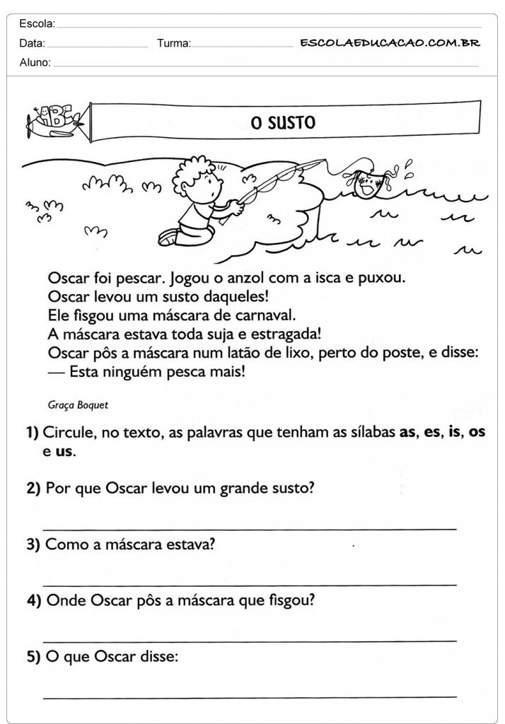 Atividades de Interpretação de Texto 3º ano - O Susto